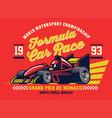 vintage shirt design formula racing car vector image vector image