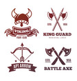vintage warrior emblems viking knight king vector image