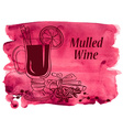 Watercolor background with mulled wine vector image vector image
