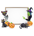 witch and vampire bat halloween sign vector image