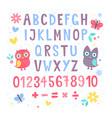 cute cartoon colorful alphabet for children vector image