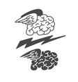 Brain with wings icon vector image