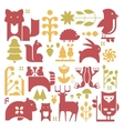 Forest Plants And Animals Set vector image