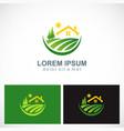 house landscape village nature logo vector image