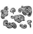 Silver tribal tracery set vector image