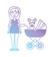 line mother with her daugther inside stroller vector image