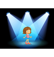 A girl smiling at the center of the stage vector image vector image