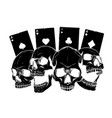Aces poker and roses with skull grunge vintage