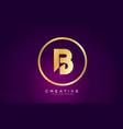 b letter gold logo design modern b icon vector image