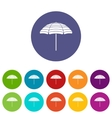 Beach umbrella set icons vector image vector image