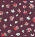 berries and leaves seamless ditsy pattern vector image vector image