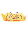 bicycle with plants orange bike in park flat vector image vector image
