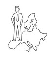 businessman standing on european union map vector image vector image
