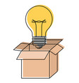 cardboard box and light bulb in watercolor vector image