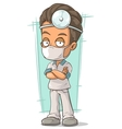 Cartoon doctor with white mask vector image
