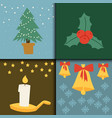 christmas card symbols for greeting banner vector image vector image