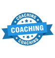 coaching ribbon coaching round blue sign coaching vector image vector image