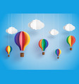 colorful hot air balloon and cloud vector image vector image