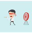 Confused blindfold businessman try to hit a target vector image