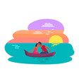 couple sitting in boat kissing vector image vector image