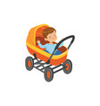 cute little boy sitting in an orange baby pram vector image