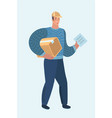delivery man guy with cardboard box postman vector image vector image