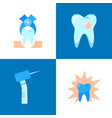 dental pain and treatment icon set in flat style vector image vector image