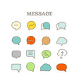 different speech bubbles thin line color icons set vector image