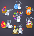 Easter rabbits with eggs vector image vector image