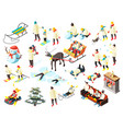 family winter holidays isometric icons vector image vector image