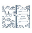 fish sketches and anchor on restaurant menu food vector image