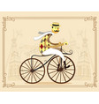 frenchman on retro vintage old bike on old city vector image vector image