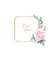 gold frame with pale roses eucalyptus leaves and vector image vector image