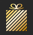 golden gift box from paper ribbon for your design vector image vector image