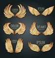 golden wing logo set angels and bird elite vector image vector image