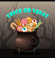 halloween card will cauldron full of sweets vector image