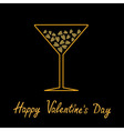 Happy Valentines Day Love card Martini glass with vector image vector image