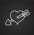heart with arrow thin line on black background vector image