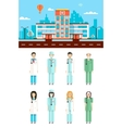Hospital with doctors vector image vector image