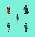 isometric human set of policewoman officer girl vector image vector image