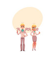 man and woman dressed as two angels in business vector image vector image