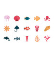 marine life cartoon sea fauna animal set vector image