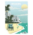 miami city in old style vector image