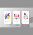 mobile app page onboard screen set male and female vector image vector image