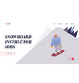 people snowboarding website landing page vector image vector image