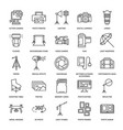 photography equipment flat line icons digital vector image vector image