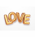 realistic gold metallic lettering love isolated on vector image vector image