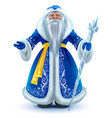 russian santa claus grandfather frost in blue fur vector image vector image