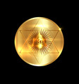 sacred masonic symbol all seeing eye gold round vector image