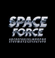 silver emblem space force chrome 3d font vector image vector image